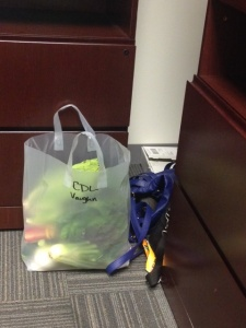 To answer your question, yes I feel like a giant loser carrying a bag of vegetables out of my office.