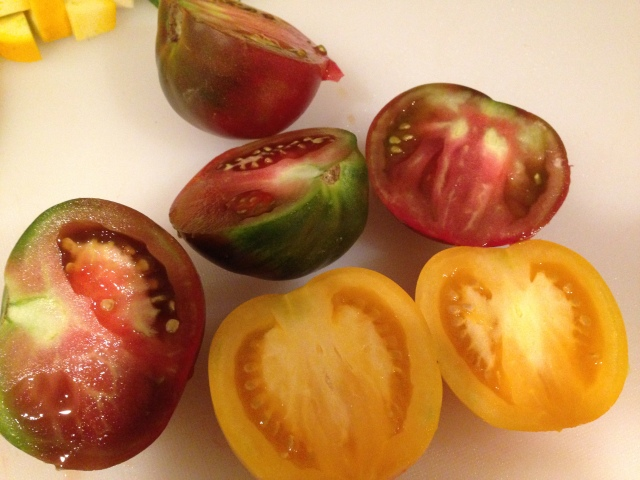 Beautiful heirloom tomatoes in the peak of the season. Sorry Dad - pretend you didn't see this!